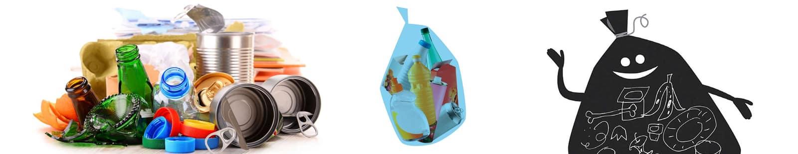 Distribution de sacs de tri bleus et translucides